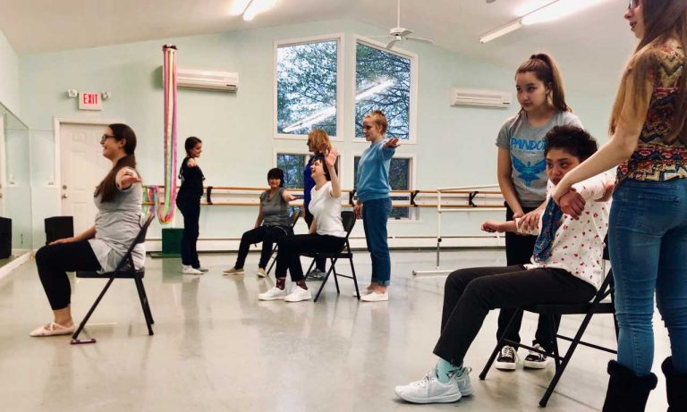 Eastern Connecticut Ballet adaptive dance program students working with instructors